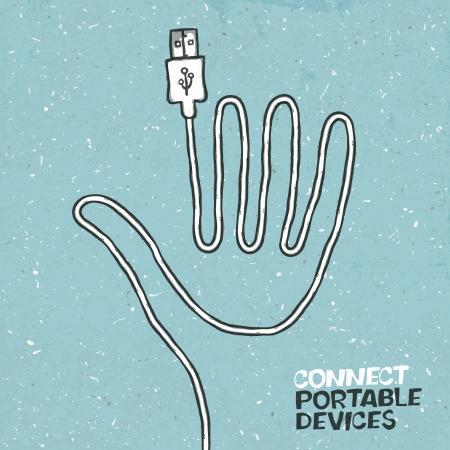 the internet: Collegare i dispositivi portatili concetto illustrazione