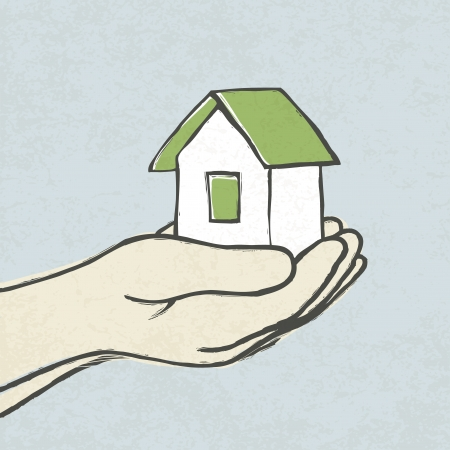 greeen: Greeen house in hands  Concept illustration