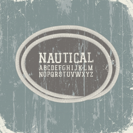Vintage nautical card with retro alphabet Vector