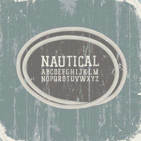 Vintage nautical card with retro alphabet Illustration