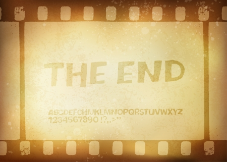 filmmaker: Old filmstrip  Movie ending frame Illustration