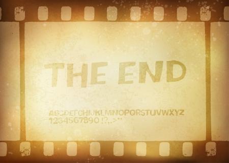 Old filmstrip  Movie ending frame Illusztráció