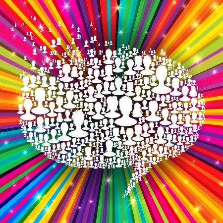 feedback link: Speech bubble, composed from many people silhouettes on colorful rays background  Social network concept Illustration