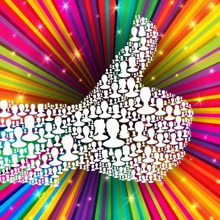 Duim omhoog symbool op kleurrijke stralen achtergrond samengesteld uit vele mensen silhouetten