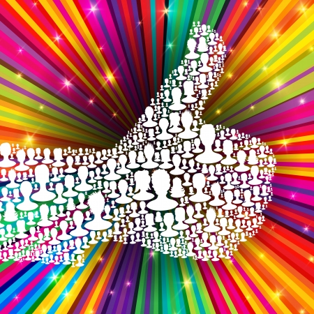 votes: Thumb up symbol on colorful rays background  Composed from many people silhouettes
