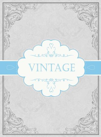 Vintage framed background with label Stock Vector - 15157478