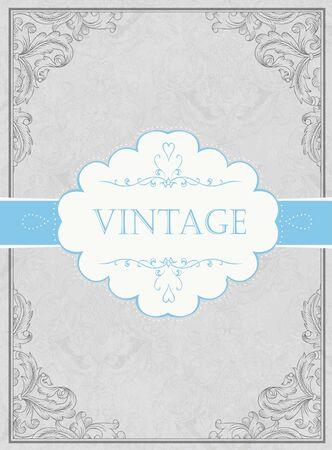Vintage framed background with label Stock Vector - 15157478