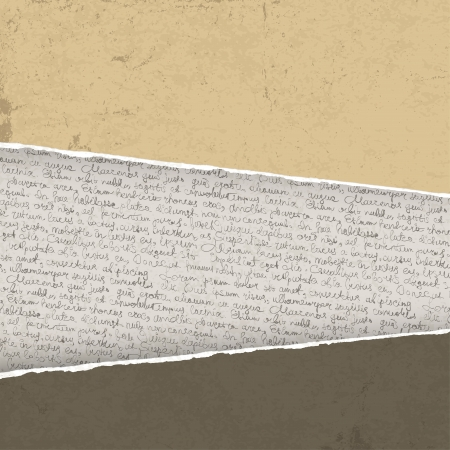 written text: Vintage torn background with handwritings Illustration