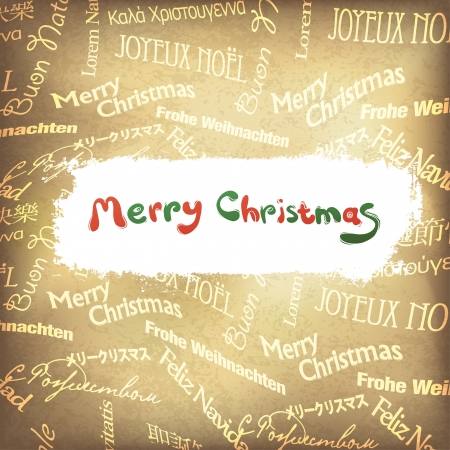english language: Retro Christmas greetings in different languages  Vector, EPS10