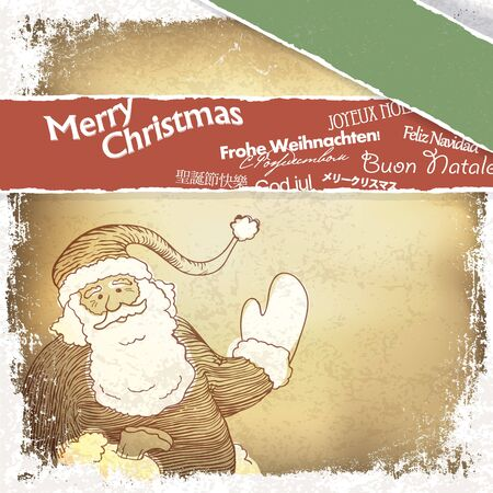 old fashioned christmas: Retro Santa Claus greetings in different languages  Vector, EPS10