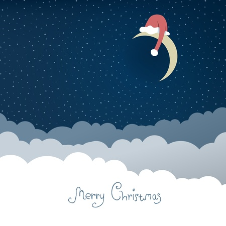 Greeting card with christmas moon  Vector illustration, EPS10  Vector