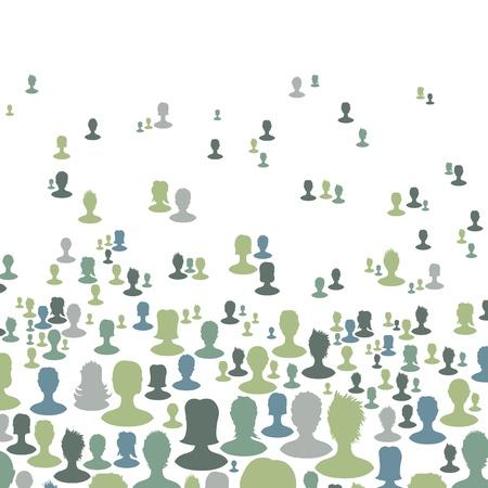 Fondo de concepto de red social, muchas personas siluetas Vector, EPS8