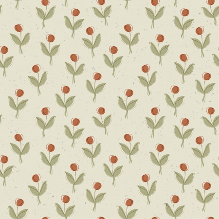Plant with red berry. Seamless pattern, vector, EPS10 photo