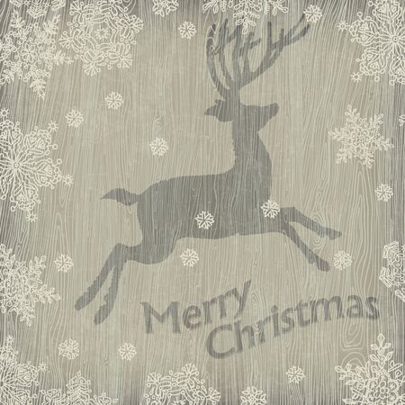 Christmas deer with snowflakes on wooden texture. Vector illustration, EPS10. Stock Illustration - 16610342