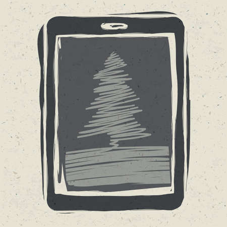Christmas tree on tablet device photo