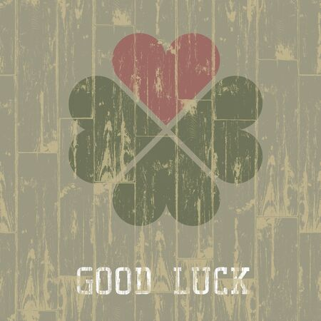 weathered wood: Good luck. St. Patricks Day concept. Stock Photo