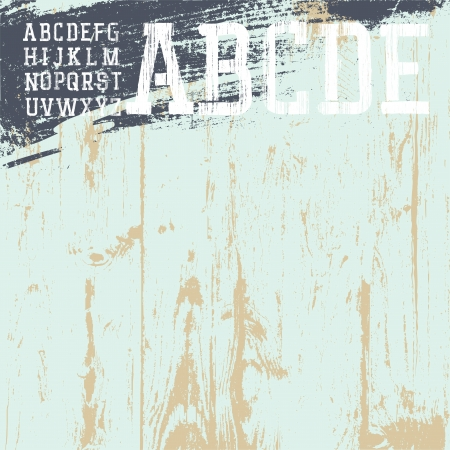 newspaper texture: Grunge alphabet with wooden background, ready for use.