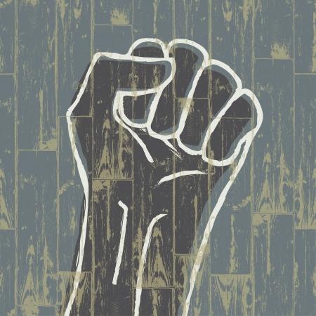 Fist - revolution symbol,Grunge. Stock Photo - 16610436