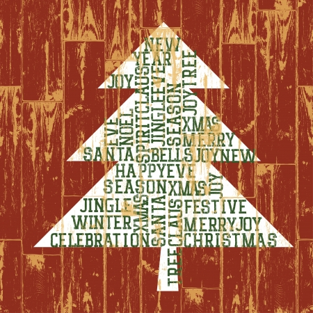 Christmas tree words composition. Vintage styled illustration. Stock Illustration - 16610636