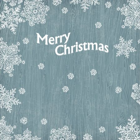 Christmas greetings with snowflakes on wooden texture,illustration. Stock Illustration - 16610622