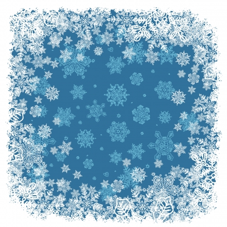Snowflakes frame blue. photo