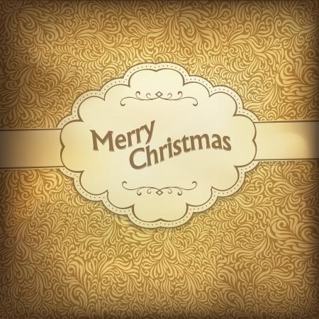 gamut: Vintage Christmas card in golden gamut, illustration.