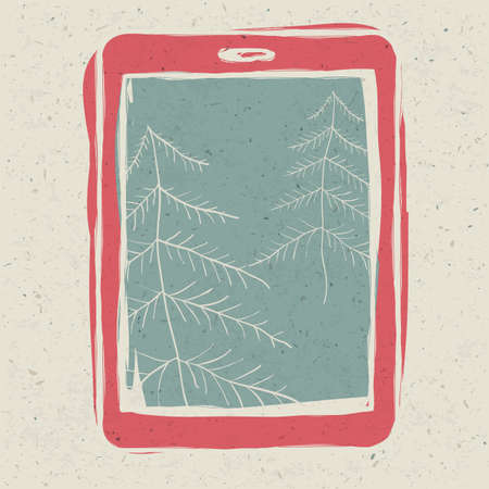 Christmas trees on tablet device screen, technology concept illustration. illustration