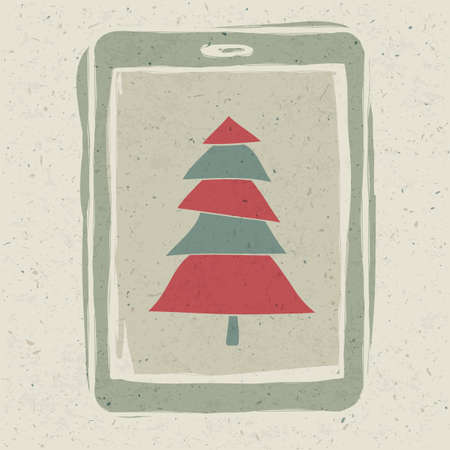 Xmas tree on tablet device screen, technology concept vector, EPS10.  photo