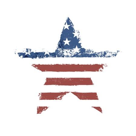 La bandera americana imprime como símbolo en forma de estrella.