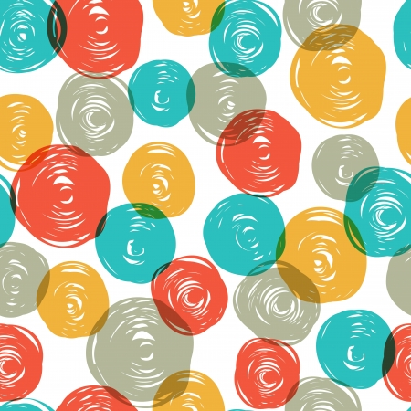 Abstract colorful retro seamless pattern (balls doodles).