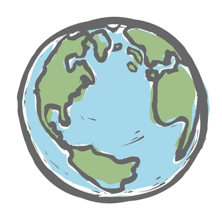 blue earth: Hand drawn earth. Illustration