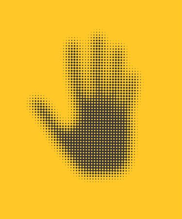 Hand icon on yellow background .  Stock Vector - 18216062