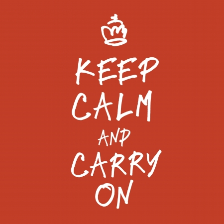 The words keep calm and carry on handwriting.  Vector