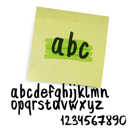 Handwritten alphabet (lowercase letters with numbers). Vector
