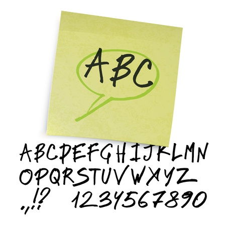 Handwritten alphabet (uppercase letters with numbers).  Stock Vector - 18216073