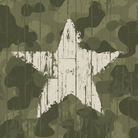 Military camouflage background with star.