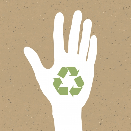 Reuse sign on hand silhouette on recycled paper. Illusztráció