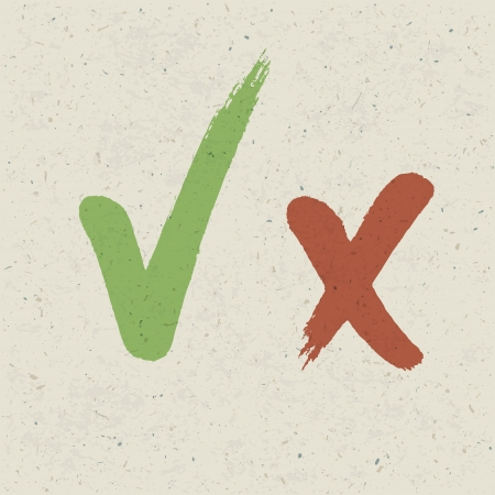 voting box: Check marks on paper texture.  Illustration