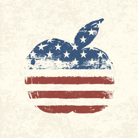 Apple shaped american flag. Vector, EPS10 Stock Vector - 18586257
