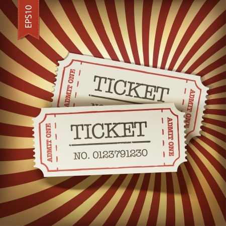 tickets: Cinema tickets on retro rays background, vector.