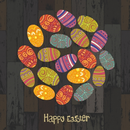 Easter eggs. Circle shaped on wooden planks background. Vector, EPS10 Stock Vector - 18586313