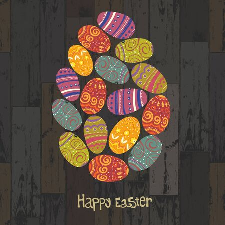 Easter eggs. Composed in one egg shape on wooden planks background. Vector, EPS10 Stock Vector - 18586323