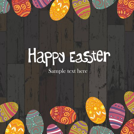 Easter eggs on wooden planks background. Vector, EPS10 Vector