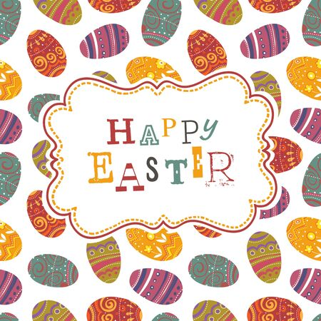 Easter greeting on seamless eggs pattern. Vector, EPS10 Stock Vector - 18586212