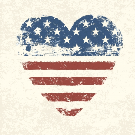door sign: Heart shaped american flag  Vector, EPS10 Illustration