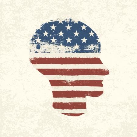 continente americano: Grunge bandera americana símbolo de la cabeza de tema. Vectores