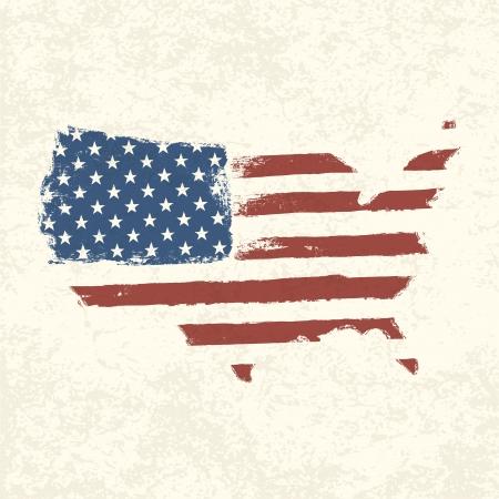 USA flag. Shape of american map. Vector, EPS10 Stock Vector - 19186709