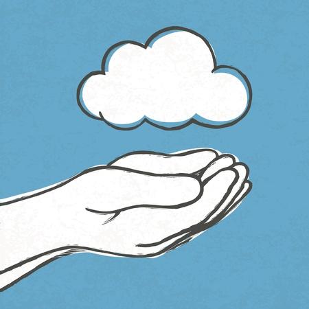 Cloud in hands. Stock Vector - 19186507