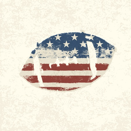 dirty football: Grunge american flag themed ball symbol.