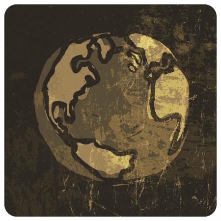 Earth planet grunge illustration. Stock Vector - 19187105